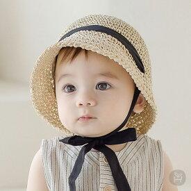 麦わら帽子 ストローハット 帽子 ベビー りぼん baby KIDS キッズ 子供服 お出かけ 1歳 48cm 50cm 夏 旅行誕生日 プレゼント 0歳 1歳 2歳 サスティナブル 紙 コンパクト