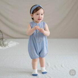 ee914ea2de590 子供服 ベビー服 ロンパース ノースリーブ HAPPY PRINCE ブルー ベビー KIDS キッズ 子供服 コットン100%