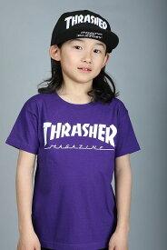 【100-160サイズ】THRASHER TEE スラッシャー Tシャツ ティシャツ パープル ベビー baby キッズ kids 子供服 THRASHER ロゴ 19a465-42-pup 誕生日 プレゼント