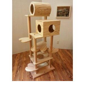 商品名:『猫まみれツリーハウス』宮大工さん手作り仕上げ!!木製キャットタワー(おしゃれなハート型踏み台)◎お掃除簡単で何といっても清潔!!◎他の市販商品とは違い、丸太支柱は