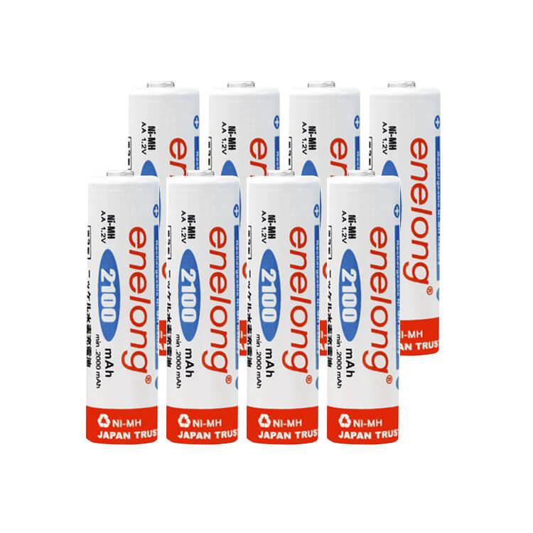 充電池 単3 形 8本 エネロング 収納ケース付大容量2100mAh!約1000回繰り返し使える enelong 単3形 電池 × 8本セット日本正規品販売代理店 エネループ を超える大容量! おもちゃ 等に![EL21D3P4*2]ネコポス送料無料