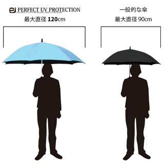 100%UVカット完全遮光晴雨兼用日傘軽量アルミ合金で軽いスポーツ観戦に最適!ビッグサイズ120cmワイド軽量タイプひんやり大きいワンタッチジャンプ長傘[ejPERFECTUVPROTECTIONAL465]宅配便送料無料