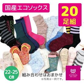 靴下 福袋 春物 色柄タイプおまかせ20足組 送料無料 日本製 国産 レディース靴下 国産靴下 20足組 エコソックス