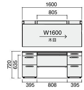 iSデスクシステム両袖デスク(B4タイプ)幅1600×奥行700×高さ720mm【SD-ISN167CBBS】