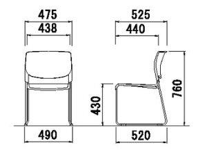 【4脚セット】ミーティングチェア・スタッキングチェア/直径12.7mmクロームメッキタイプホワイトシェル【MC-183W-4SET】
