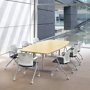 ミーティングテーブル・会議テーブル/DWSテーブル【ボート形・幅2400×奥行き1200mm・天板2分割】【DWS-2412B-M1】