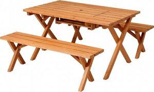 現在欠品中!次回入荷は 8月10日頃予定!ガーデンテーブル・ガーデンベンチセット/ 杉材 BBQテーブル&ベンチセット (コンロスペース付) ナチュラル(81761)【F-81761】