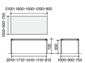 コクヨジュートミーティング用テーブル(4本脚角脚・角形天板)キャスター付き幅1800×奥行900×高さ720mm【MT-JTK189-C】