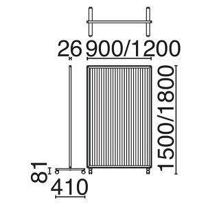 ローパーティション衝立SY-2スクリーン単体樹脂タイプキャスタータイプ高さ1500×幅900mm【SY2-0915P】