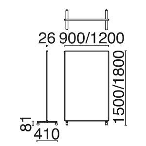 ローパーティション衝立SY-2スクリーン単体クロスタイプキャスタータイプ高さ1800×幅900mm【SY2-0918C】