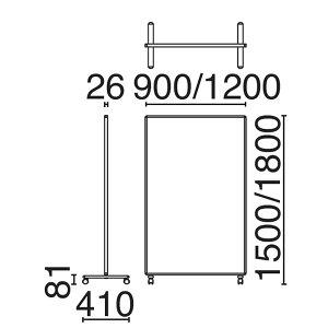ローパーティション衝立SY-2スクリーン単体クロスタイプキャスタータイプ高さ1500×幅1200mm【SY2-1215C】