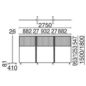 ローパーティション衝立SY-2スクリーン3連コンビタイプキャスタータイプ高さ1800×幅2750mm【SY2-2718PC】
