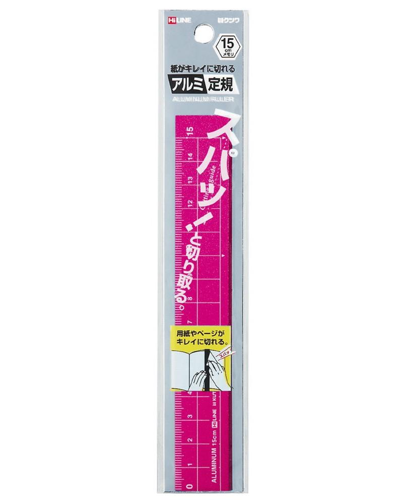 【メール便なら送料120円】クツワ(KUTSUWA)HiLINEアルミ定規15CピンクXS15PK