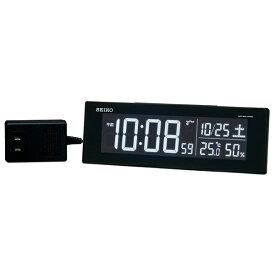 セイコー 交流式電波デジタル DL305K 目覚まし時計 黒