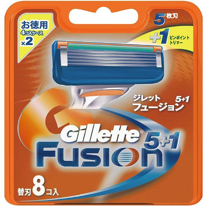 【当社指定送付方法送料無料】Gillette Fusion5+1ジレット フュージョン 替刃8個入 髭剃り カミソリ 替え刃(F)