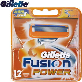 Gillette ジレット フュージョンパワー 替刃12個入Fusion POWER5+1 髭剃り 替え刃 4個入りが3パック(FP)