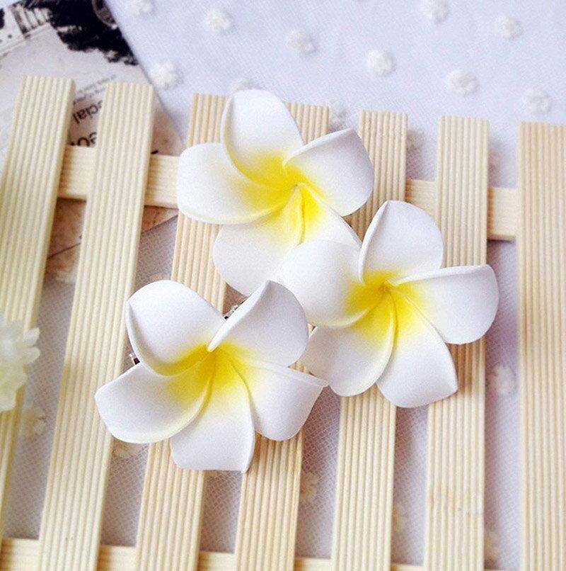 プルメリア ヘアアクセサリー 10個セット(S/M/L) ヘア クリップ ピン ハワイ 花 ヘアピン 髪飾り 白色