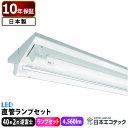 40形 LED蛍光灯 (ランプセット) 逆富士 2灯式 19W×2 ベースライト 昼光色/昼白色/電球色 直管 40W型 低ノイズ 日本製…