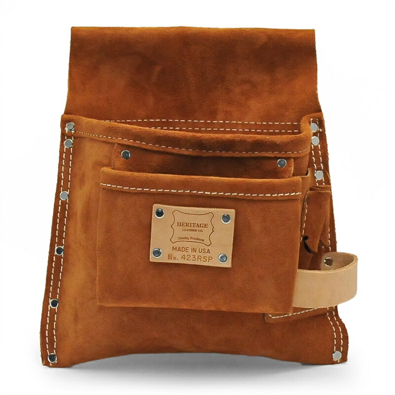 Heritage Leather | 423RSP 5ポケットプロフェッショナルツールポーチ(スウェードレザー) 5-PKT PROFESSIONAL SUEDE LEATHER POUCH | ヘリテージレザー