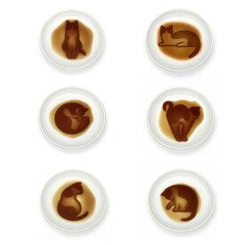ネコポスOK ネコ 醤油皿 6枚セット シルエット 醤油を注ぐと絵が浮かび上がる ねこ 猫 しぐさ かわいい 海外お土産 インバウンド ギフト