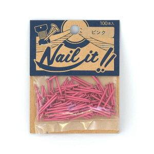 ネコポスOK ストリングアート ネイルイット Nail it 釘 袋入り 100本 ピンク ナチュラル カラーくぎ クギ 手作り ハンドメイド DIY