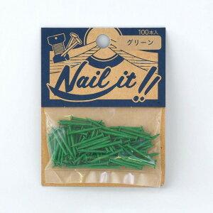 ネコポスOK ストリングアート ネイルイット Nail it 釘 袋入り 100本 グリーン ナチュラル カラーくぎ クギ 手作り ハンドメイド DIY