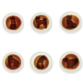 ネコポスOK イヌ 醤油皿 6枚セット シルエット 醤油を注ぐと絵が浮かび上がる いぬ 犬 しぐさ かわいい 海外お土産 インバウンド ギフト
