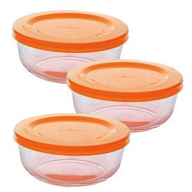 イワキ(iwaki) パックぼうる 耐熱ガラス 保存容器 中 3個組 母の日 ギフト 400ml 作り置き レンジ可 オーブン可