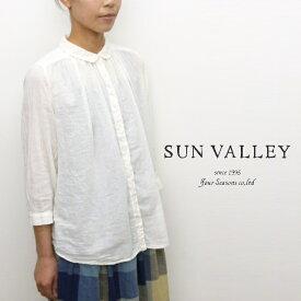 【セール】サンバレー SUNVALLEY シャツ ブラウス ギャザー 8分袖 ボイル 日本製品染め 2020年秋冬の新色入荷 ゆったり らくちん CP