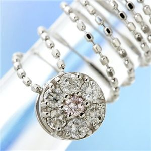 直送・代引不可K18WG インビジュアルピンクダイヤモンドペンダント/ネックレス別商品の同時注文不可