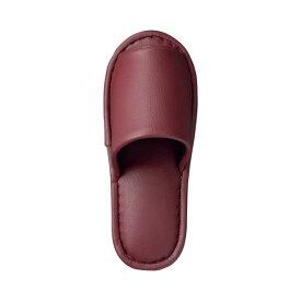 直送・代引不可(まとめ) TANOSEE 最高級レザー調スリッパ 外縫い 大人用 ワイン 1足 【×5セット】別商品の同時注文不可