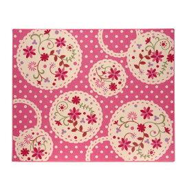 直送・代引不可デスクカーペット 女の子 花柄 『パミュ ツー』 ピンク 110×133cm別商品の同時注文不可