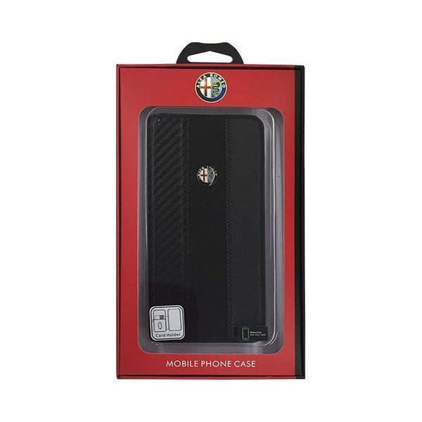 直送・代引不可 Alfa Romeo 公式ライセンス品 High Quality Carbon Synthettic Leather book case w/card holder Black iPhone6 PLUS用 AR-SSHFCIP6P-4C/D5-BK 別商品の同時注文不可