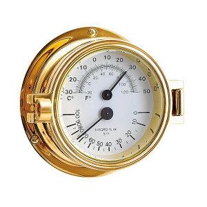ゴーリキアイランド 710211 真鍮製温湿度計 金色 Bタイプ 真鍮 アンティーク調 湿度計 温度計