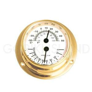 ゴーリキアイランド 710214 真鍮製温湿度計 金色 Sタイプ 真鍮 アンティーク調 湿度計 温度計