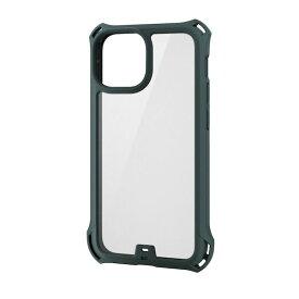 エレコム ELECOM PM-A21AZEROFCKH iPhone13 mini ケース カバー ハイブリッドケース 耐衝撃 ZEROSHOCK フレームカラー カーキ PMA21AZEROFCKH