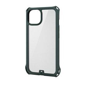 エレコム ELECOM PM-A21BZEROFCKH iPhone13 ケース カバー ハイブリッドケース 耐衝撃 ZEROSHOCK フレームカラー カーキ PMA21BZEROFCKH