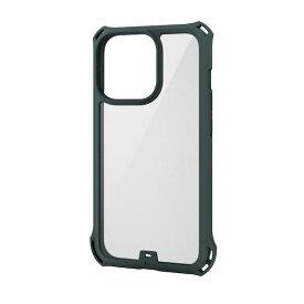 エレコム ELECOM PM-A21CZEROFCKH iPhone13 Pro ケース カバー ハイブリッドケース 耐衝撃 ZEROSHOCK フレームカラー カーキ PMA21CZEROFCKH