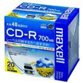 マクセル データ用CD-R 700MB 48倍速対応 インクジェットプリンタ対応 20枚入り ホワイトレーベル CDR700SWPS1P20S [CDR700SWPS20S]【IMPP】