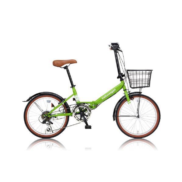 【送料無料】OTOMO 20インチ折り畳み自転車 6段変速 Volkswagen(フォルクスワーゲン) グリーン VW-206Gグリ-ン [VW206Gグリ-ン]【DZI】