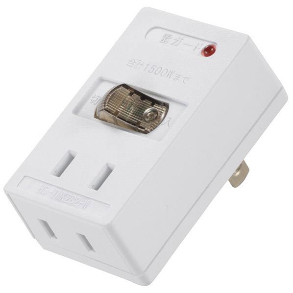 オーム電機 雷ガード付 LEDスイッチタップ(2個口) HS-TMK2B2-W [HSTMK2B2W]