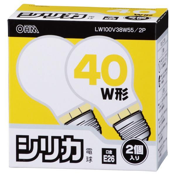 オーム電機 PS55形・E26口金 電球 ホワイト 38Wシリカ電球タイプ 2個入り LW100V38W55/2P [LW100V38W552P]