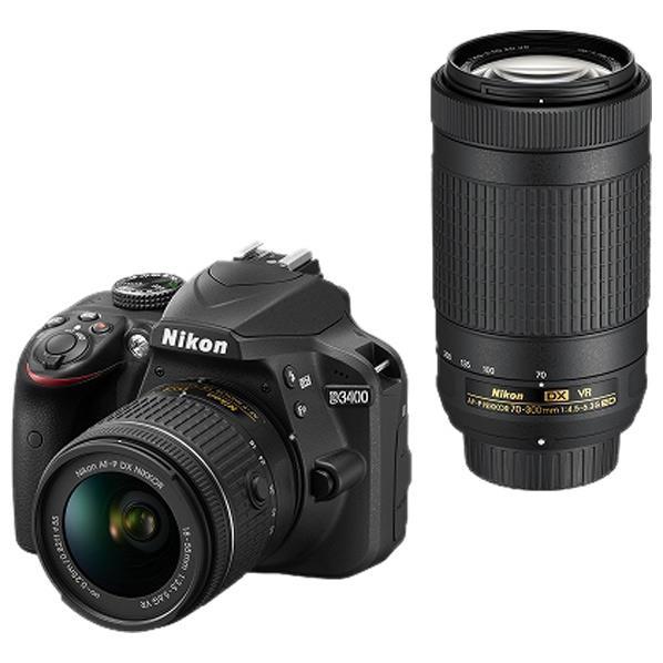 【送料無料】ニコン デジタル一眼レフカメラ・ダブルズームキット D3400 ブラック D3400WZBK [D3400WZBK]