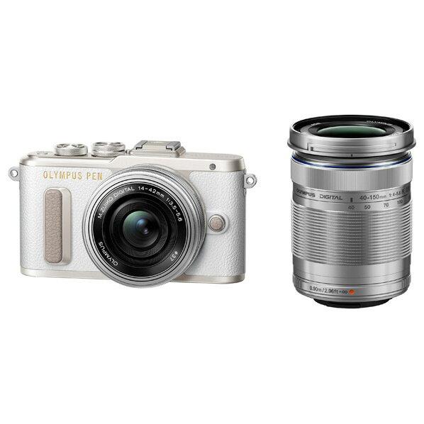 【送料無料】オリンパス デジタル一眼カメラ・EZ ダブルズームキット PEN ホワイト PEN E-PL8 EZWZKWHT [EPL8WZKWHT]【RNH】