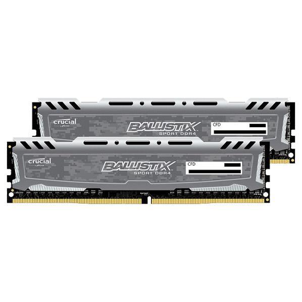 【送料無料】CFD Crucial ゲーミングモデル DDR4-2400 デスクトップPC用メモリ 288pin DIMM Heatsink搭載(4GB×2枚組) CFD Selection Ballistix by Micron / Sports Series グレー W4U2400BMS-4G [W4U2400BMS4G]