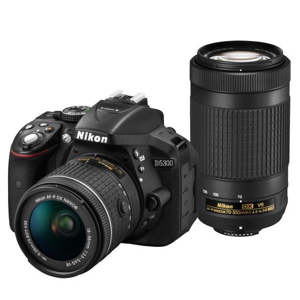 ニコン デジタル一眼レフカメラ・AF-P ダブルズームキット D5300 ブラック D5300WZ3 [D5300WZ3]【RNH】