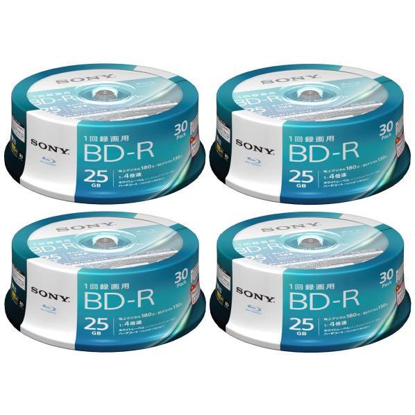 【送料無料】SONY 録画用25GB 1層 1-4倍速対応 BD-R追記型 ブルーレイディスク 30枚入り ×4個セット 30BNR1VJPP4P4 [30BNR1VJPP4P4]