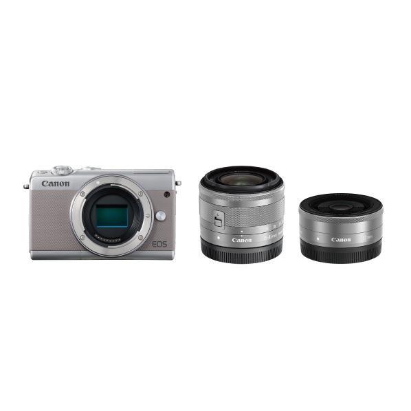キヤノン デジタル一眼カメラ・ダブルレンズキット EOS M100 グレー EOSM100GYWLK [EOSM100GYWLK]【RNH】