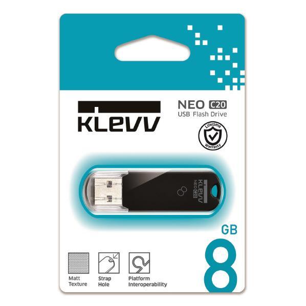 KLEVV USB2.0メモリ(8GB) ブラック U008GUR2-NB [U008GUR2NB]