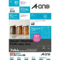 エーワンラベルシールインクジェット超耐水タイプ光沢フィルム・透明(やや乳白色)A4判27面3シート30627